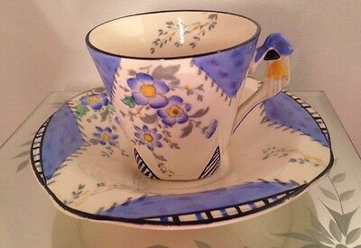 Burleigh Art Deco MAYTIME 2 Piece Coffee Cup & Saucer Mint