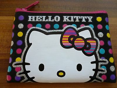 Children's Hello Kitty black & pink purse wallet with dots & silver glitter