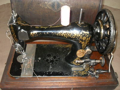 Vintage Vibrating Shuttle Singer sewing machine, spares/repair + accessories