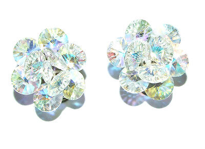 Stunning Pair Of Vintage Iridescent Crystal Glass Clip On Earrings.