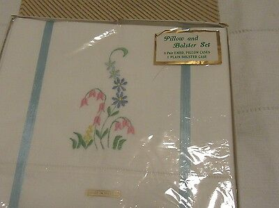 Set cotton pillowcases bolster embroidered floral vintage boxed unused