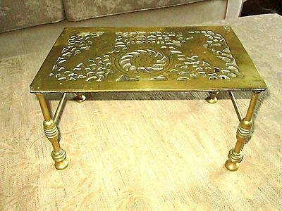 Antique Victorian Large Scottish Celtic  Solid Brass Fireside Trive 7ins Legs
