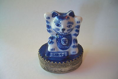 Lucky Cat Ceramic And Metal Trinket Box With Mirror