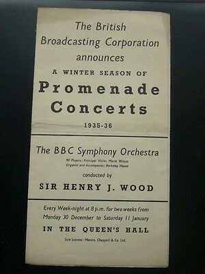 Vintage Programme Sir Henry Wood Promenade Concerts 1935-36 BBC Winter Season