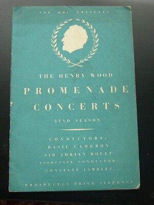 Vintage Prospectus Sir Henry Wood BBC Promenade Concerts 1946  52nd Season