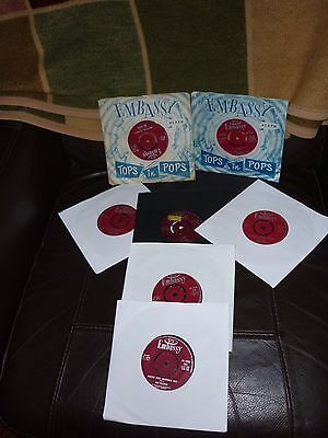 "7 x 7"" singles 45 rpm on Embassy record label (Woolworth's)"