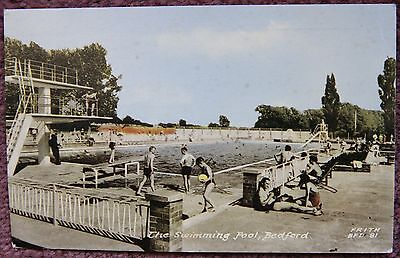 1961 Swimming Pool Bedford Vintage Real Photographic Postcard Bedfordshire