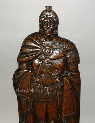 English Antique Carved Oak Wood Figure Roman Soldier Fire Hearth Mantel Ornament