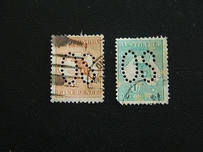 Australia Stamp SG O7, O10 punctured type O1 large OS good/fine used 1913 5d,1s.