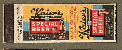 1930`s Kaier`s Special Beer Chas D Kaier Co Mahanoy City Pa Matchcover A191
