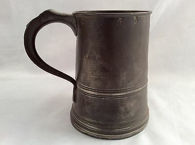 """Rare JAMES YATES/BIRCH """" QUART """" PEWTER TANKARD with Chester No7 Inspec. Stamp"""