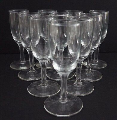 Lot of 10 Miniature Stemmed Shot Cordial Glasses Clear Glass