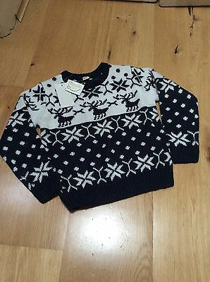 BNWT Baby Boys Christmas Jumper Navy Blue Reindeer Size 12-24 Months Age 1-2