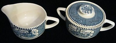 Currier And Ives Locomotive Creamer And Steamboat Sugar Bowl With Lid   12/2016