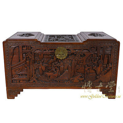 Chinese Antique Carved Camphor wood Hope Chest 16LP34