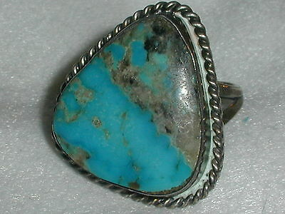 Great! Old Pawn Sterling Turquoise Ring- Size 8.5!