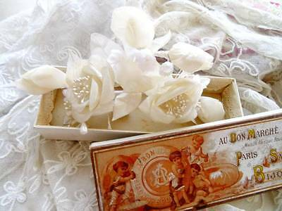 An Antique/Vintage French Wedding Hair Corsage In 'Bon Marche' Box