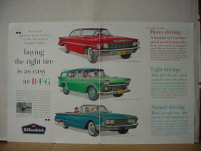 1960 B F Goodrich Tire Big Double Page Color Vintage Print Ad 10339