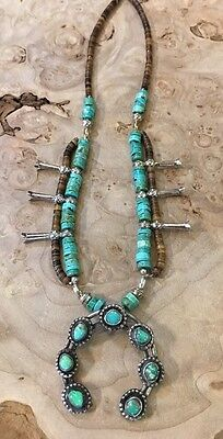 Old Pawn Turquoise Sterling Silver Squash Blossom Navajo Dime Beads Necklace