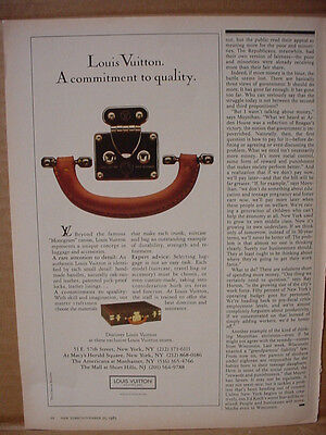 1985 Louis Vuitton Luggage Commitment to Quality Vintage Print Ad 154