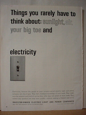 1964 Electric Light + Power Companies Light Switch Vintage Print Ad 10403