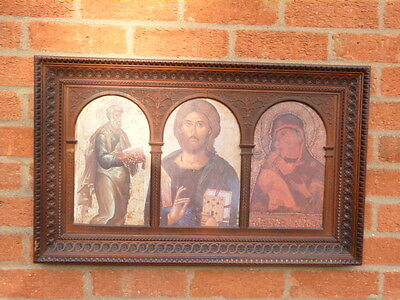 Beautiful Antique Ornate Carved Glazed Picture Frame With Icons.