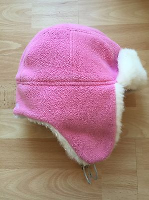 TRESPASS Girls Pink Winter Fleece Trapper Hat With Faux Fur Trim Age 4 - 7 years