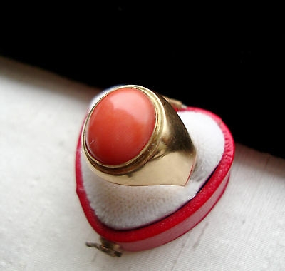 Vintage LUXUS Pracht  Ring + echte Koralle + Gr.58 + 18,5 mm + 750 Gold
