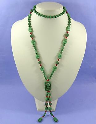 "Egyptian Revival Scarab Beetle Necklace - Czech ""max Neiger"""