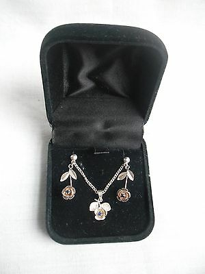 sterling silver set earrings & necklace with flower design, boxed