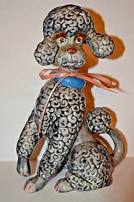 Vintage Ceramic Standing Gray Poodle Mid-Century Modern Figurine W/ Eyelashes