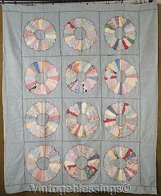 """Vintage 30s Dresden Plate QUILT TOP on Soft Blue 73"""" x 60"""""""