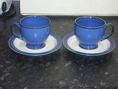 Pair Denby Cups And Saucers Blue With Green Trim
