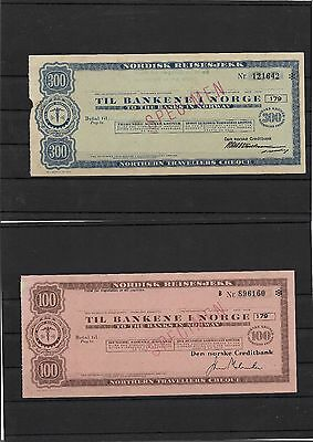 Norway 50nok, 100nok and 300NoK early travelers cheques specimens (#31238a)