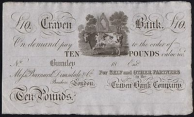 1800's CRAVEN BANK £10 BANKNOTE * UNISSUED REMAINDER * gEF * Ref 3 * Outing 366a