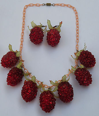 Vintage celluloid or lucite strawberry necklace and earrings on plastic chain