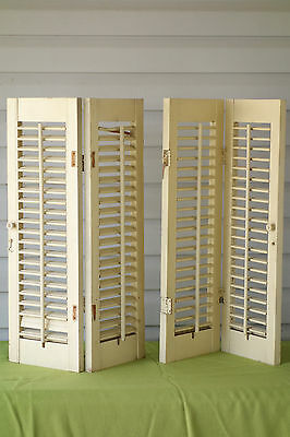 Vintage Pair of Wood Plantation Window Louver Shutters Architectural Salvage C