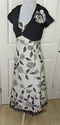 Presen Mother Of The Bride/groom/occasion Embroidered Silk Dress Suit Sz Uk10-12
