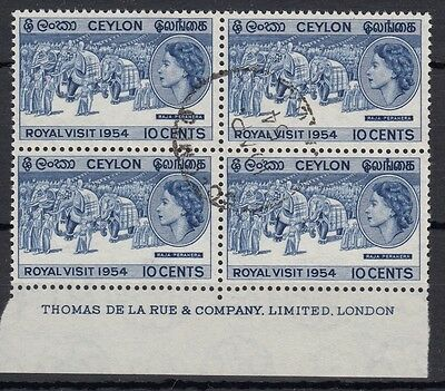 Ceylon 1954 Royal Visit SG434 - used block with imprint
