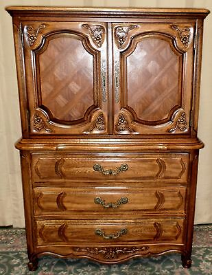 THOMASVILLE OAK ARMOIRE Gentlemans Chest, French Provincial Style VINTAGE 2of2