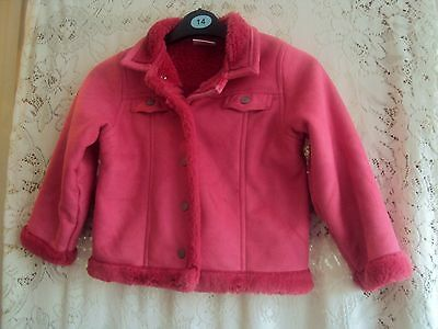 Girls Pink Faux Suede And Fur Jacket Age 5 Years Next