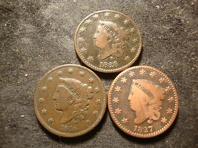 1827 1828 1836  Large Cents Decent Looking Coins  SLOSS