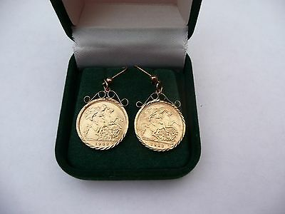Superb Vintage Rare Pair Of 22K Solid Gold 1982 Half Sovereign Coin Earrings