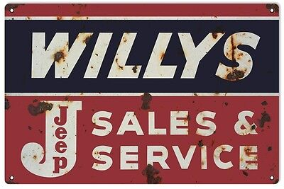 "Reproduction Willy's Jeep Sales And Service Metal Sign 12""x18"""