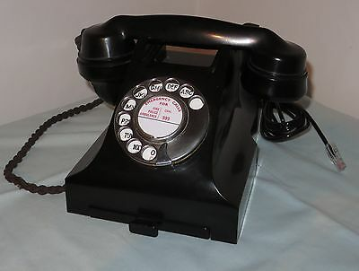 Vintage Black Bakelite Rotary Dial 332L GPO Telephone converted and working