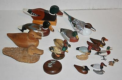 Collection Of 19 Assorted Wild Duck Figurines Carved Wood Bisque Pewter Signed