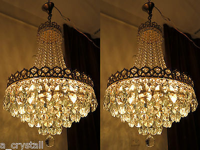 PAIR OF Antique Vintage French  Basket Style Crystal Chandelier Lamp 1940's 16in