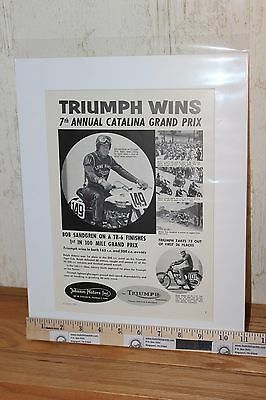 1957 Triumph Wins Catalina 11'' x 14'' Matted Vintage Motorcycle Ad #5708amot09m