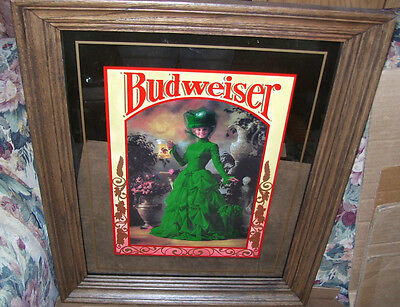 Budweiser Beer Victorian Woman With Green Dress Wall Mirror Very Stylish 1992
