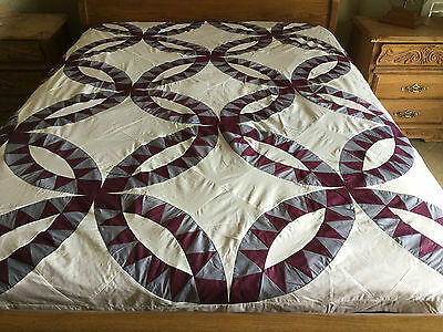 King size machine pieced Double wedding Ring  Patchwork quilt Top